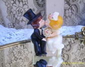 Vintage Made in Japan Kissing Bride Groom Bench Engagement Wedding Cake Topper Decoration