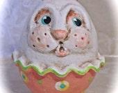 "Primtive Folk Art Easter Bunny Egg  ""BUNNIKINS"" PFATT  HAFAIR"