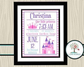 Nursery Decor, Birth Announcement, Nursery Art, Nursery Print, Birth Statistics, Birth Stat, Personalized, Newborn, Castle, Crown,Girls Room