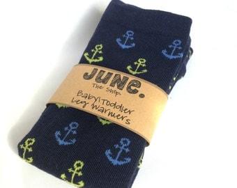 Baby Toddler Leg Warmers, babylegs, Blue Anchors