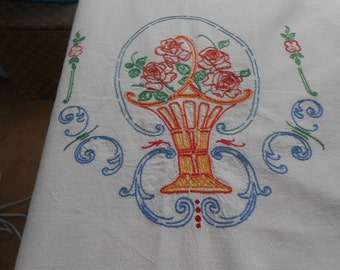 Dresser Scarf, Vintage, Embroidered,