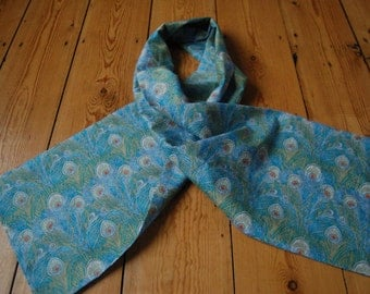 Handmade Scarf Liberty of London Tana Lawn Hera Fabric in Turquoise Fully Lined