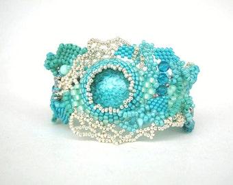 Turquoise bracelet  Beaded bracelet cuff Turquoise jewelry Handmade bracelet Unique gift for her Freeform peyote bracelet