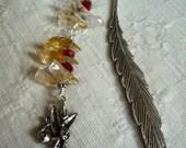 Fairy magical bookmark citrine yellow feather swarovski gems spiritual
