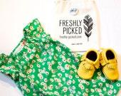 Girl's Green Floral Vintage Print Peasant Dress Flutter Sleeve Dress