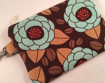 Brown and Teal Floral Small Zippered Pouch, Notion Case, Floral Wallet, Vegan Wallet, Phone Case, iPod Case