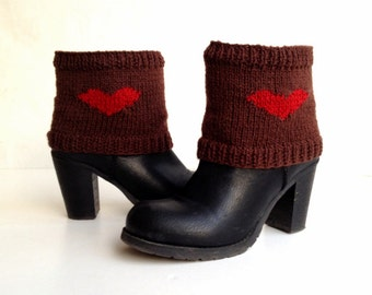 Red Heart Socks Boot Cuffs Leg warmers Short Knit Boot Cuff Topper Knit Shoe Sock Winter Accessories Womens Accessories Gifts For Her