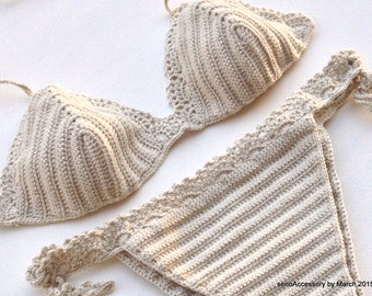 Beige Women Swimwear Crochet Bikini Top Bikini Bottom Swimsuit Bathingsuit Summer Beachwear // senoaccessory