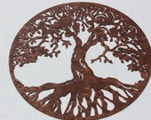 Tree of Life Scene Large Metal Wall Art Country Rustic Home Decor