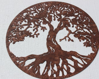 tree of life scene large metal wall art country rustic home decor tree life large: tree scene metal wall art