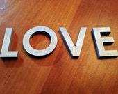 Reclaimed vintage letter - LOVE - Solid Brushed Aluminum