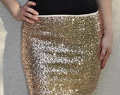 Champagne Mini Sequin Skirt - Runs Small Stretchy, beautiful, fun mini skirt (Small, Medium, Large, XLarge)