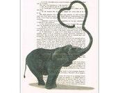 Elephant Love Art Print, Custom Art Print,valentine Art, Wedding Art Gift, Anniversary Art,Vintage Dictionary Page Art Print, elephant heart