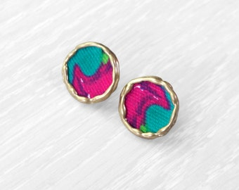 Framed floral fabric stud earrings