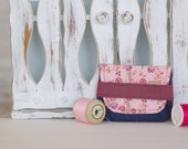 Card holder, small wallet made from recycled fabrics credit cards health cards fidelity eco-friendly eco-design leaves pink denim jeans