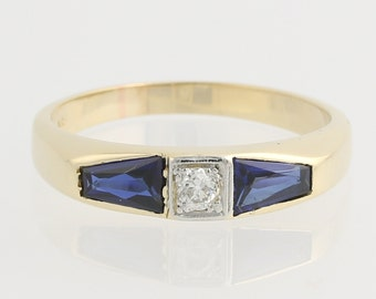 Diamond and Synthetic Sapphire Ring - 14k Yellow & White Gold 10 3/4 Fine 1.62ctw F9479 R