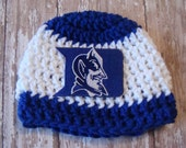 DUKE UNIVERSITY Baby Boy or girl Hat Crochet Size Pink or Blue and White, 0-3 Months 14-16 Inch Circumference Shower Gift, Cap, Beanie