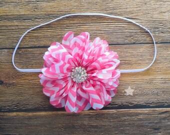Pink chevron headband, elastic headband, baby headband, infant headband, newborn headband, photo prop, baby gift, baby girl, girl headband