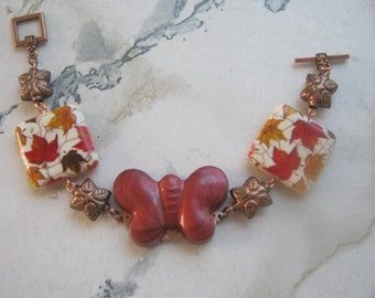 Fall Butterfly and Copper Leaf Bracelet
