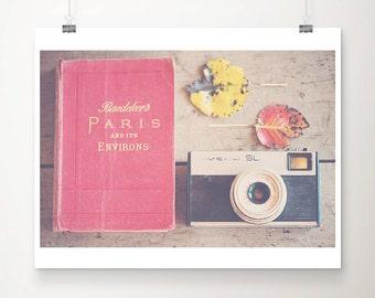 paris photograph paris print paris decor vintage camera photograph travel photography red leaf photograph fall photograph