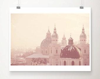 salzburg photograph snow photograph travel photography austria photograph cathedral photograph roof photograph winter photograph