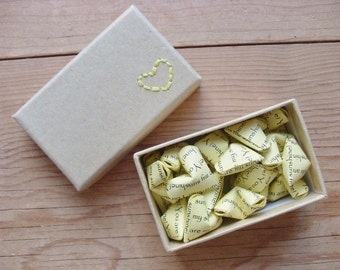 You are my sunshine, Hand Embroidered Box Filled with 24 Origami Hearts. Sensationery Gift Set.