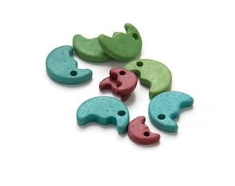 Mixed Ceramic Half Moon Beads, Green Blue Red Moon Beads C 10 390