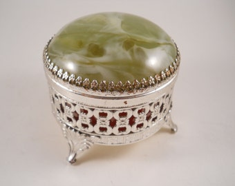 Green Trinket Treasure Keepsake Box Vintage Brass Feet