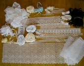 HUGE LACE LOT #2 for doll sewing children large amount of yardage of pretty lace, girls beading, Venise