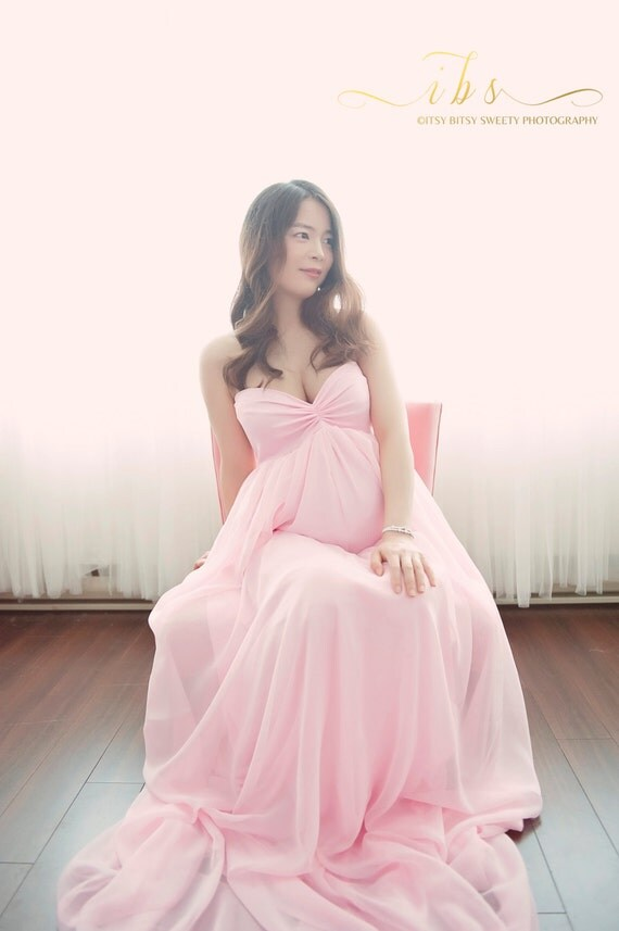 Vanessa Pink Maternity Dress, Maternity Gown, Chiffon Maternity Dress, Baby  Shower Dress, Maternity Wedding Dress, Wedding Dress,bridesmaid