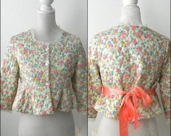Vintage 50s Bedjacket, 1950 Floral Bed Jacket, White Quilted Bedjacket, Pink & Green Robe, White 60s Robe, Vintage Short Robe, Floral Robe