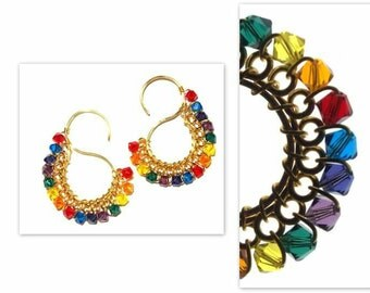 Signature  S  Earrings  with  Swarovski  Crystals  in Rainbow