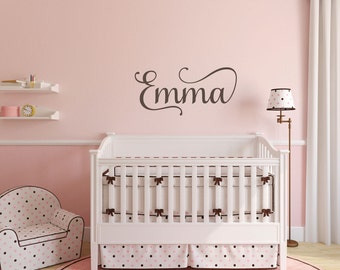 Wall Safe Vinyl Name Removable Letters Custom Personalized Stickers Temporary Damage Free Nursery Crib Kid Child Bedroom Room