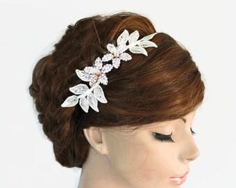 Bridal Headband, Rhinestone Flower Piece, Wedding Hair Accessory, Black Velvet, Crystal  Bridal Crown Headpiece, Handmade