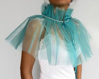 Bridal Cape, Sheer Tulle Bolero Shrug, Turquoise Blue Bridesmaids Gift Capelet, Bridal Shawl Wrap Modern Special Occasion, Spring Wedding