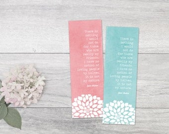 Literary Quote Art Jane Austen Bookmark Typography Austen Quote Bookmark Gift for Friend Party Favours