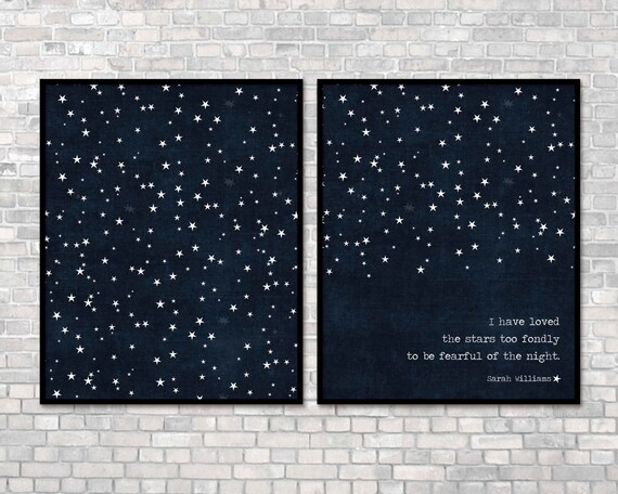 Digital Prints I Have Loved the Stars Too Fondly To Be Fearful of the Night Print/All Stars Dark Navy Blue Stars Modern Universe Poster