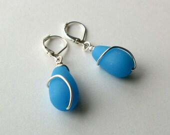 Blue sea glass and silver wire wrapped teardrop earrings