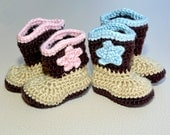 Crochet Baby Cowboy Boots...makes a great photo prop or baby gift!