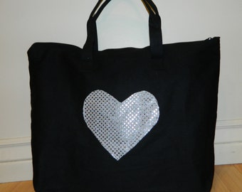 Bling sequin funky oversized bag purse, overnight, diaper, tote, sequin heart applique, dance, travel, daycare, wedding gift, tween - mom