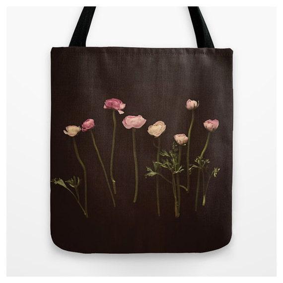 floral tote bag pink and black tote market bag pink