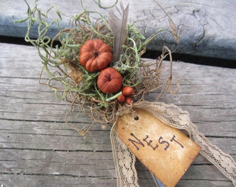 VINTAGE SPOON NEST~ Up cycled~ Vintage Spoon~ Primitive Decor~ Woodland~ Nest~ Fall~ Spring~ Garden Decor~