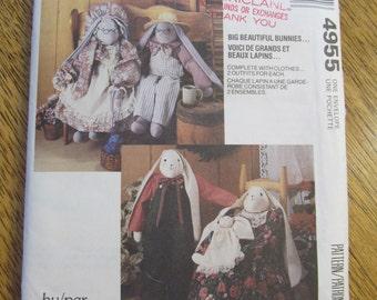 EASTER BUNNY Folk Soft Sculpture Doll & Victorian Wardrobe - UNCUT Vintage Sewing Pattern McCalls 4955