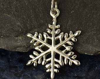 Snowflake - Large Sterling Silver Snowflake Charm - Winter Charms, Holiday Charms