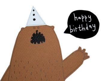 Bear Birthday Card, Happy Birthday Card, Funny Bear Card, Blank Birthday Card, Handmade Greeting Card, Poosac