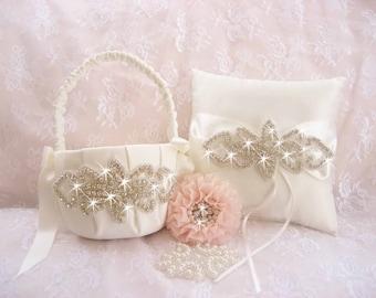 Crystal Flower Girl Basket Set and Ring Bearer Pillow Flower Girl Basket set  - and Satin Ivory or White