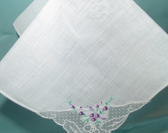 White Fine Cotton Handkerchief with Lace Insert Hankie Hand Embroidered Accent on Lace Hankie Collectible Hankie White ?Cotton Hanky