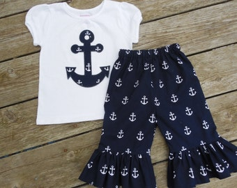 Girl's Personalized Shirt and Ruffle Pants - Navy with White Anchors
