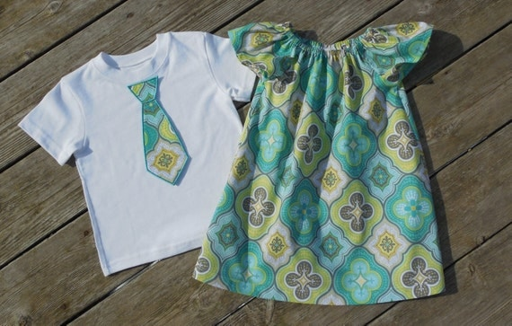 Brother and Sister Matching Outfits - Girl's Aqua and Gray Quatrefoil Peasant Dress with Brother Appliqued Tie Shirt by Livanni