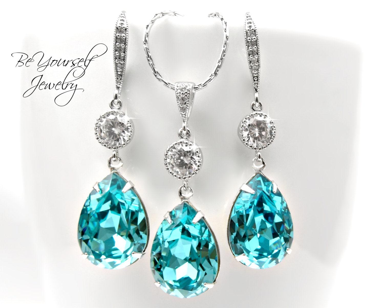 Teal Wedding Jewelry Sea Green Bridal Earrings Teardrop Bride Necklace Swarovski Crystal Light Turquoise Bridesmaid Gift CZ Something Blue